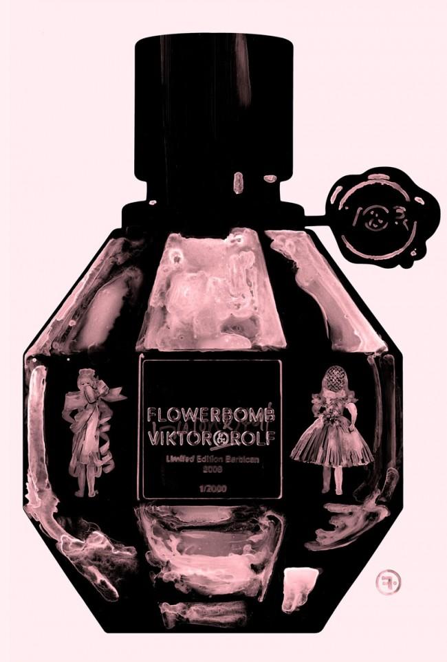 Flowerbomb, Werbung für Viktor & Rolf Parfüm, gemischte Techniken, 2008, © François Berthoud