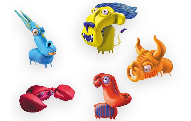 Knet-Tiere | Illustrationen aus dem Studium. Geknetete Figuren, die später in Photoshop coloriert wurden.