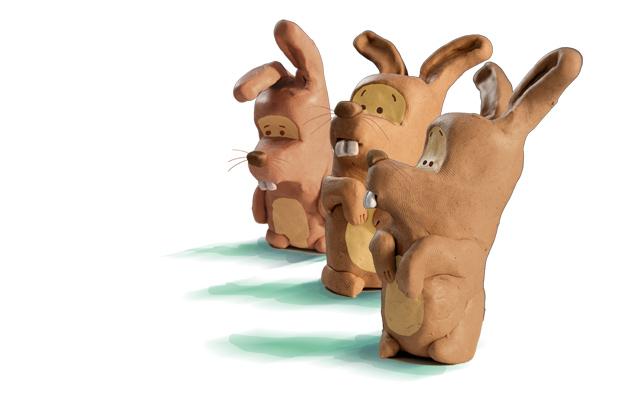 Knet-Hasen | Illustrationen aus dem Studium. Geknetete Figuren, die später in Photoshop coloriert wurden.