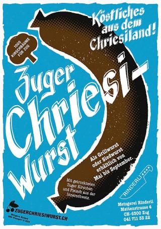 Titel: Zuger Chriesiwurst | Auftraggeber: Metzgerei Rinderli, Zug | Gestalter: Ueli Kleeb, Caroline Lötscher