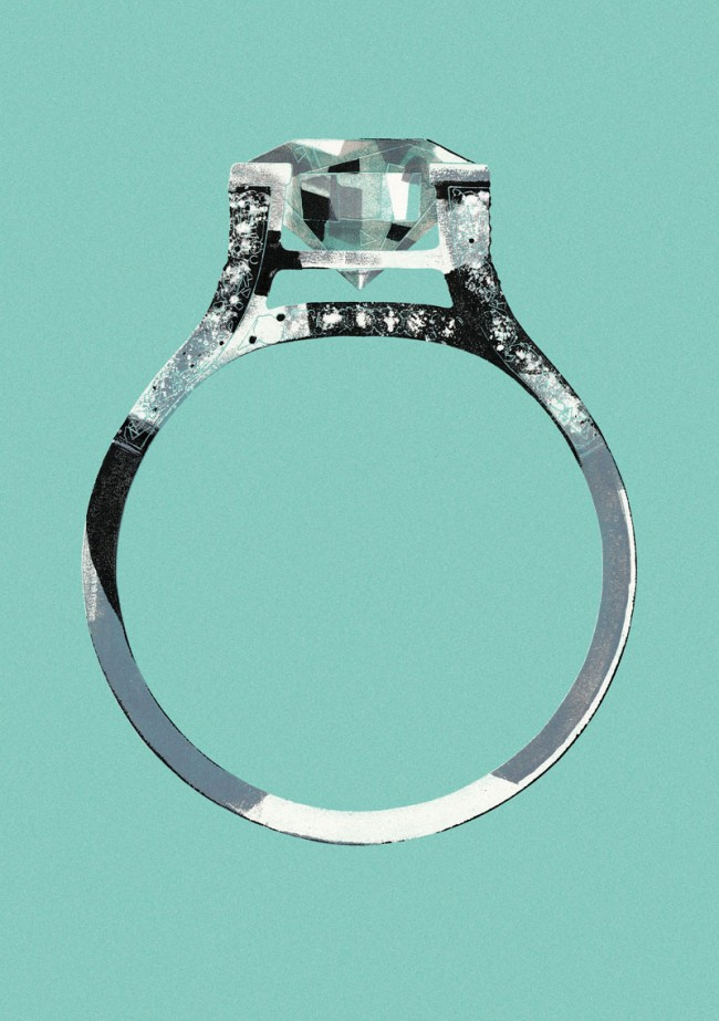 Tiffany Ring, Werbung für Tiffany (USA), Monotype, Öl auf Papier, 2003, © François Berthoud