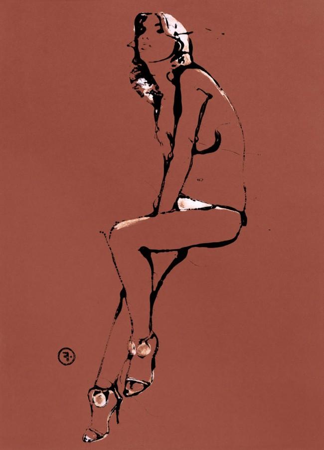 Girl Sitting, veröffentlicht in Flair (Italien), Lackfarbe und Öl auf Papier, 2003, © François Berthoud