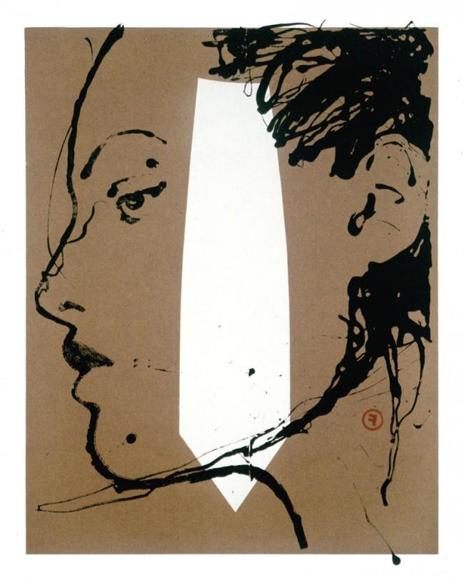 Portrait I, Werbung for Max Mara (Italien), Lackfarbe und Öl auf Papier, 2001, © François Berthoud