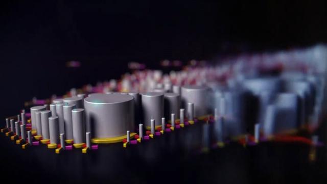 Farbwähler | Freies Experiment.  Ein Video wird in mehrere Farbwähler zerlegt, die den RGB-wert anzeigen. Nur von weitem ist das Gesicht noch zu erkennen.