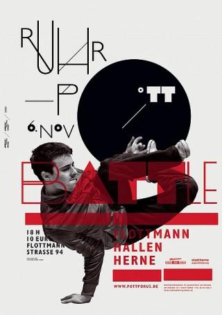 Titel: Ruhrpottbattle | Auftraggeber: pottporus e. V., Herne | Gestalter: Raffael Stüken, unter Verwendung einer Fotografie von Oliver Look