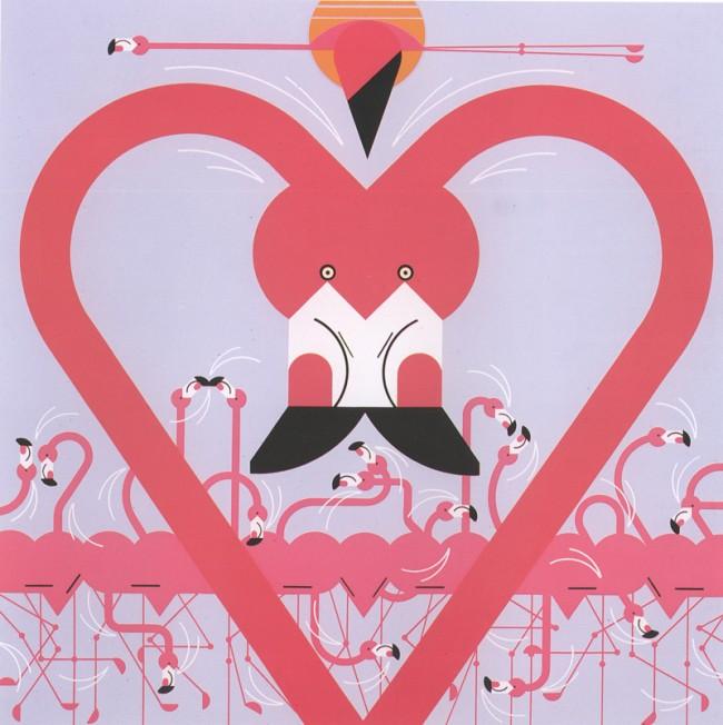 Charley Harper, Flamingo a Go Go, 1988