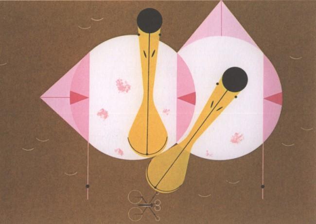 Charley Harper, Roseate Spoonbill, 1958