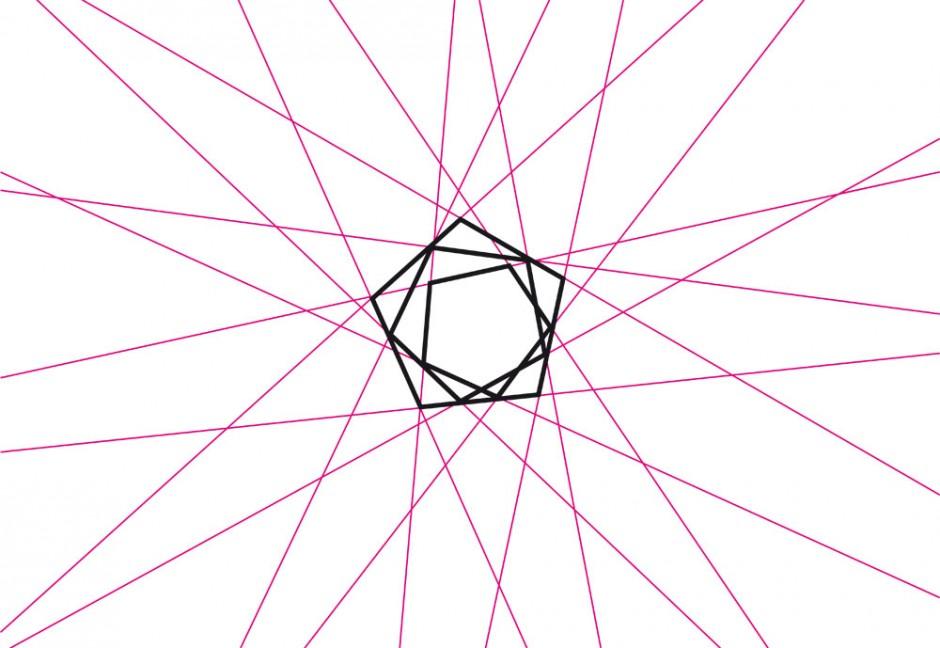 Das geometrische Grundraster wurde durch Achsenverlängerungen des Logos gewonnen