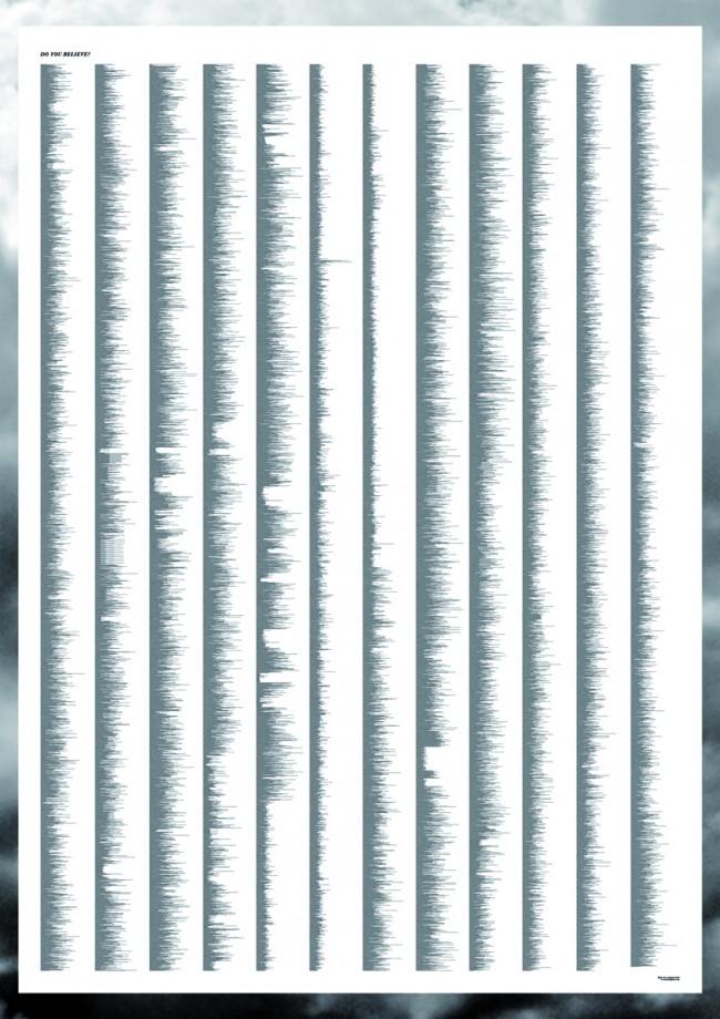 Plakatdesign: gezeigt wird der vollständige Text einer Gutenberg-Bibel in einer Schriftgröße von 2pt