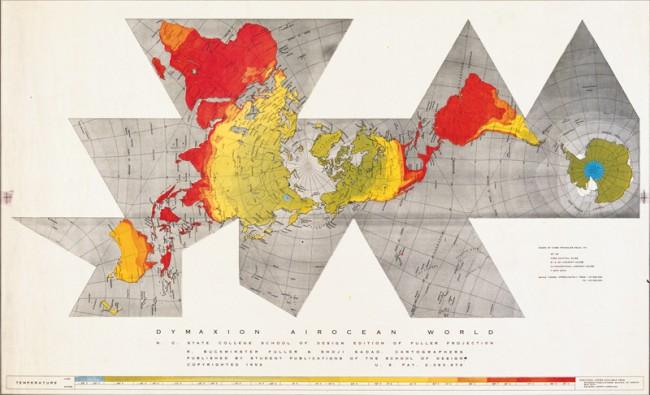 Erste Auflage der Dymaxion Air Ocean World Map, abgedruckt im Life Magazin, März 1943
