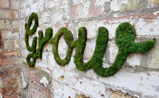 Dieses Typo-Kunstwerk ist »work in progress« und wird, wenn es fertig ist, aus den Worten »Grow beyond what you know« bestehen, die an verschiedenen Plätzen in London versteckt sind.