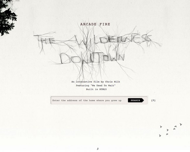 The Wilderness Downtown - Das Musikvideo der Webgeneration bringt @radicalmedia und Kunden Google Creative Lab einen Yellow Pencil in der Kategorie »Digital Design« ein