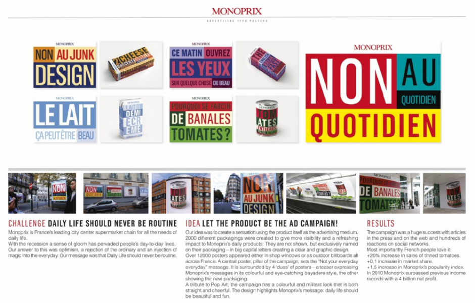 Type of Entry:Graphic Design & Design Crafts; Category:Advertising Typography; Title:NOT YOUR EVERYDAY EVERYDAY; Advertiser/Client:MONOPRIX; Product/Service:MONOPRIX; Design/Advertising Agency:HAVAS CITY Paris, FRANCE