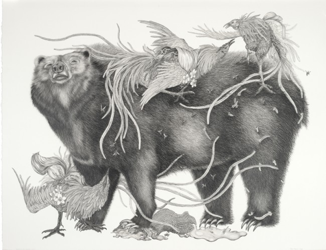 Bear's Big Night Out, Graphite on paper, 35 x 43 inches, 2008