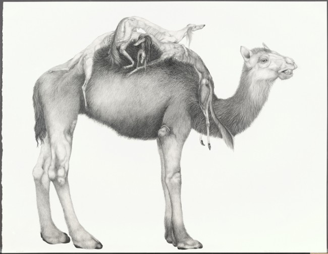 Outpost, Graphite on paper, 30 x 39 1/2 inches, 2008