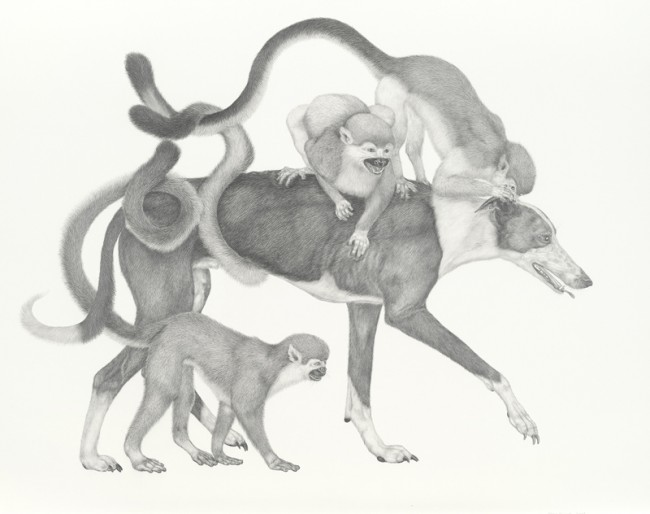 New Dog, Old Tricks, Graphite on paper, 30 x 38 1/2 inches