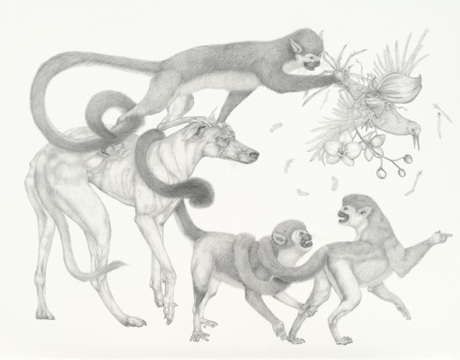 Old Dog, New Tricks, Graphite on paper, 30 x 38 1/2 inches, 2009