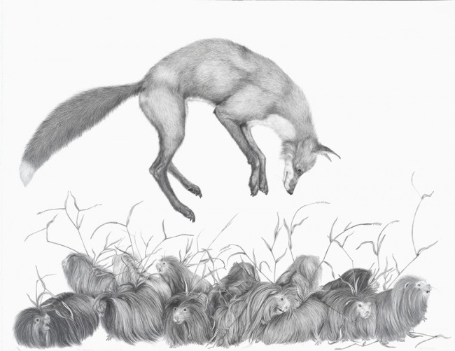 "Have you heard…the sky is falling, Graphite on paper, 38.5"" x 30"", 2008"