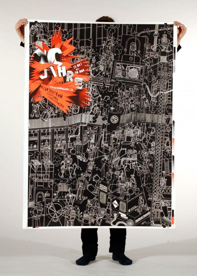 10 Jahre Kammgarn, Plakat, Zusammenarbeit mit Matthias Leutwyler, 2008
