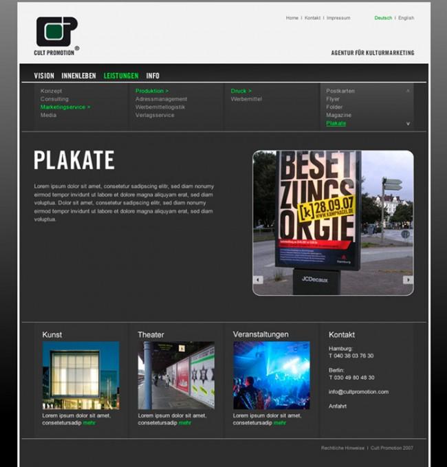 Websitegestaltung für Cult Promotion