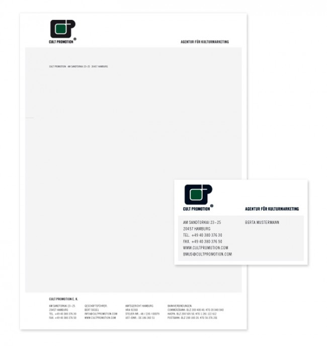 Briefbogen und Visitenkarte Cult Promotion