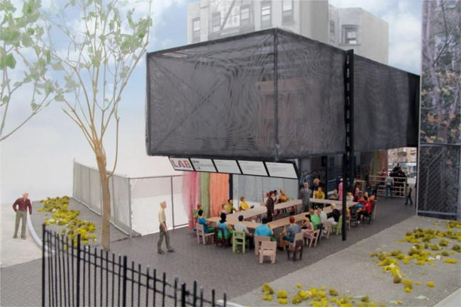 Architekturmodell mit Workshop Beispiel und Blick von der Houston Street