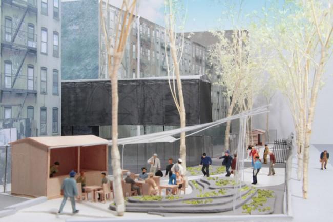 Architekturmodell mit Blick von der Houston Street und Second Ave., zu sehen ist die Struktur des Cafés, der Garten und (im Hintergrund) die Struktur des BMW Lab