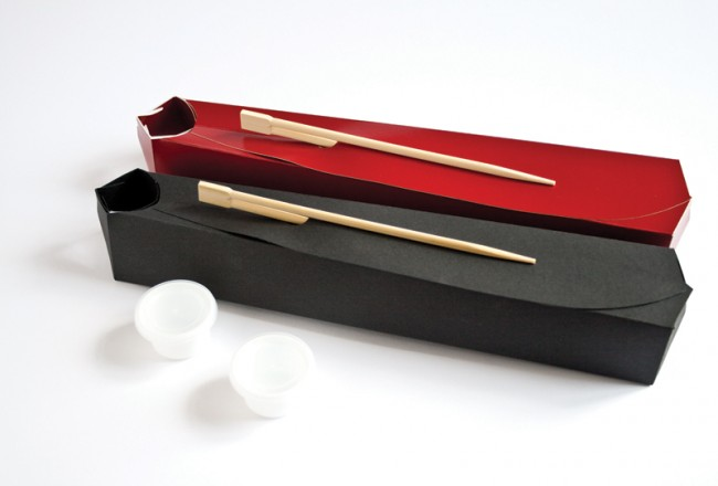 FUNE - Sushi Takeaway-Verpackung: Unverklebte Takeaway-Verpackung aus beschichtetem Karton