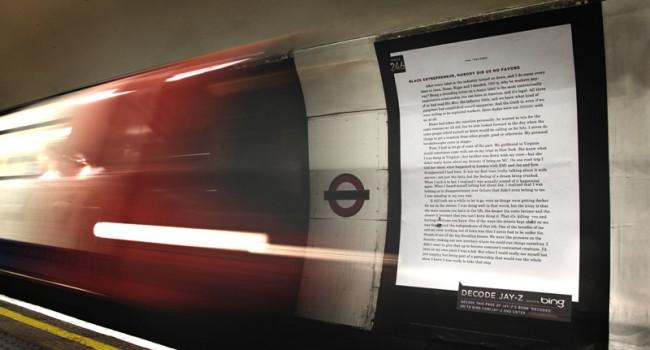 Sprung über den Teich: Plakat in der Londoner U-Bahn