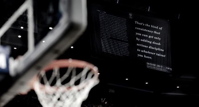 Banner im Stadion der New Jersey Nets, an den Jay-Z beteiligt ist