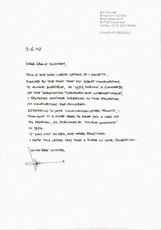 Brief von Wim Crouwel