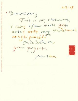 Brief von Milton Glaser, Inc.