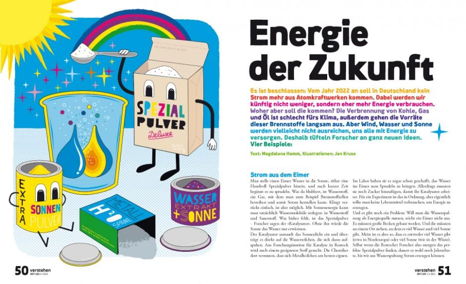 Vier Beispiele zu neuen Modellen der Energiegewinnung aus der Rubrik »Verstehen«