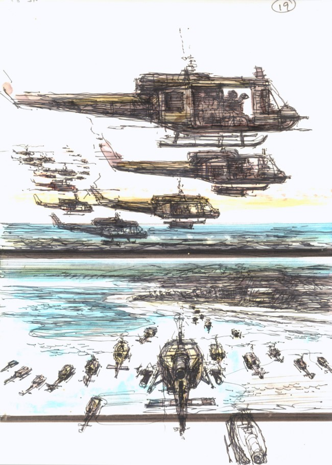 APOCALYPSE NOW | Francis Ford Coppola (USA 1979), Storyboard: Dean Tavoularis Hubschrauberangriff, Filzstift auf Papier, Leihgeber: American Zoetrope Films, San Francisco