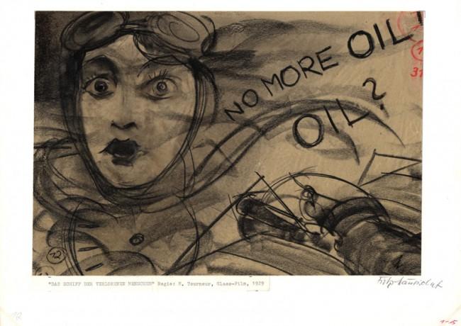 DAS SCHIFF DER VERLORENEN MENSCHEN | Maurice Tourneur (D 1929), Storyboard: Fritz Maurischat Flugzeugabsturz, Kohle auf Papier, Leihgeber: Deutsche Kinemathek – Sammlung Fritz Maurischat, Berlin