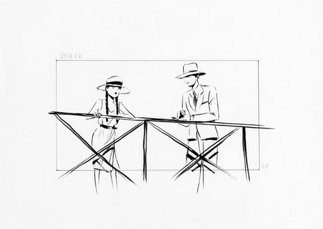 L'AMANT (Der Liebhaber) | Jean-Jacques Annaud (F 1992), Storyboard: Maxime Rebière, Das Mädchen, Tusche auf Papier, Leihgeber: Maxime Rebière c/o Hapax, Paris