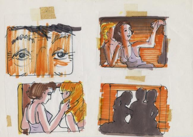 L'HOMME QUI AIMAIT LES FEMMES (Der Mann, der die Frauen liebte) | François Truffaut (F 1977), Storyboard: Anonym, Ménage à trois, Filzstift auf Papier, Leihgeber: Collection Cinémathèque française, Fonds François Truffaut, Paris