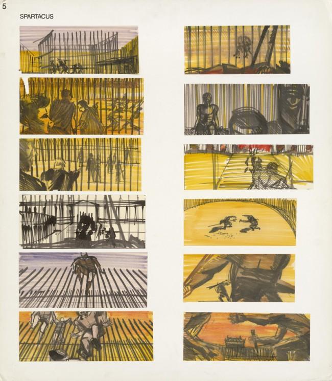 SPARTACUS | Stanley Kubrick (USA 1960), Storyboard: Saul Bass, Schule der Gladiatoren, Filzstift auf Papier, montiert auf Zeichenkarton, Leihgeber: Margaret Herrick Library, Academy Foundation, Beverly Hills