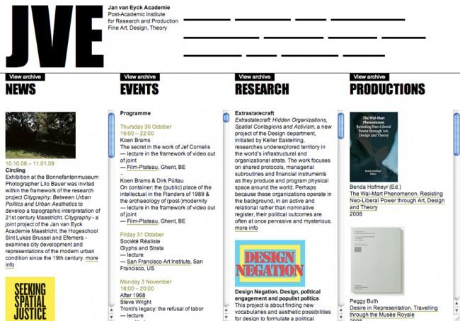 Corporate Design für die Jan van Eyck Academie: Webseite. Kunde: Jan van Eyck Academie, Maastricht, 2009