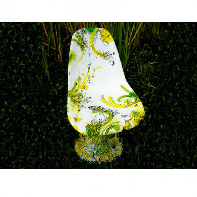 Handgemachter und übermalter Tulpen-Stuhl