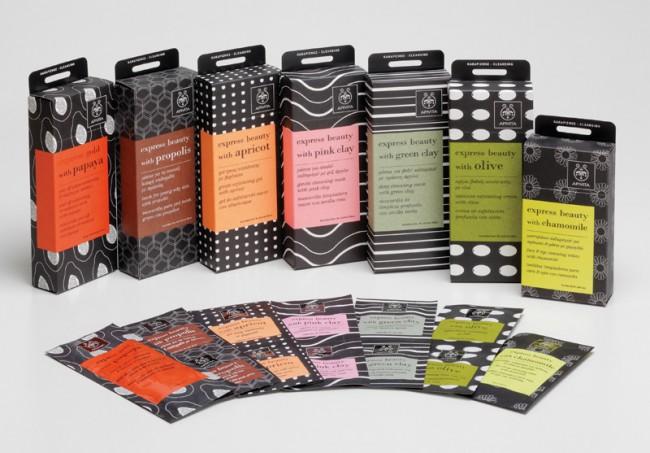Von der Agentur Dimopoulos Karatzas aus Athen stammt die Packungsgestaltung für Apivita, griechischer Hersteller von Naturkosmetik-Produkten. Jede der insgesamt 22 Gesichtsmasken hat ihre eigene Farbe. Immer gleich ist dagegen die elegante, durchgängig in Kleinbuchstaben gesetzte Typografie