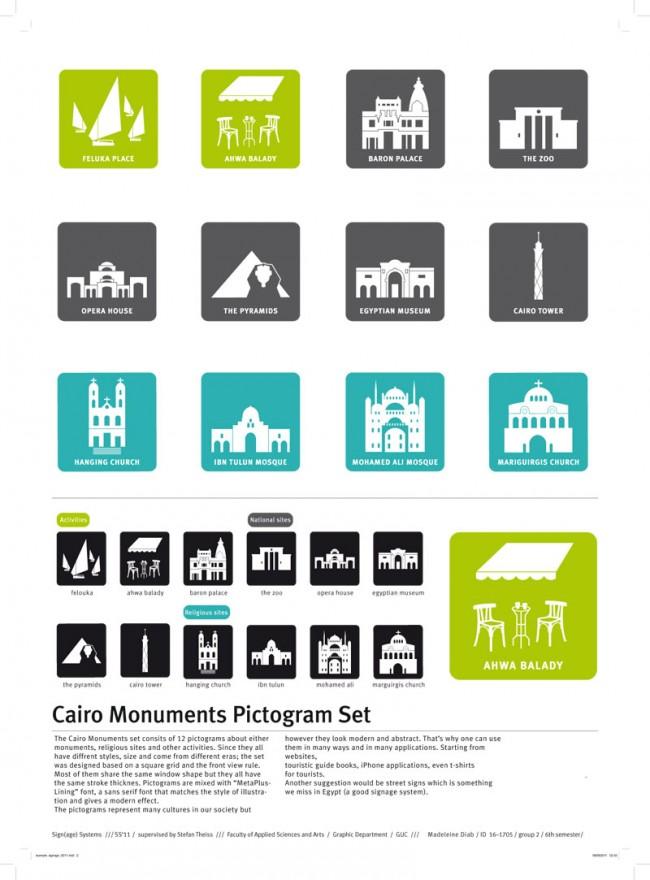 Madeleine Diab hat ein Piktogramm-Set für Kairos Sehenswürdigkeiten entworfen und zahlreiche Anwendungen gleich mit