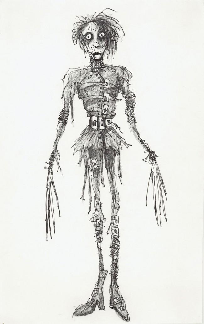 Untitled (Edward mit den Scherenhänden), 1990 | Bleistift,Tinte und Fineliner auf Papier, 36,2 x 22,9 cm | Private Sammlung | Edward Scissorhands © Twentieth Ventury Fox