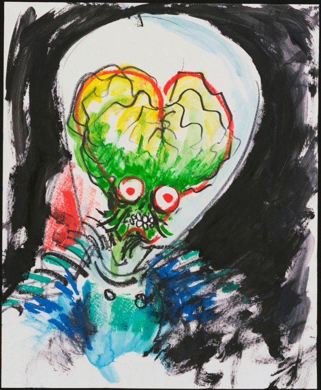 Untitled (Mars Attacks!), 1995 | Wasserfarbe und Pastell auf Papier, 43,2 x 35,6 cm | Private Sammlung | Mars Attacks! © Warner Bros.