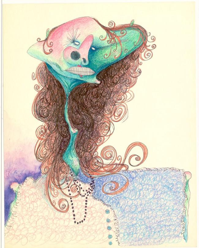 Untitled (Picasso Woman), 1980 - 1990 | Bleistift, Tinte und Wasserfarbe auf Papier, 33 x 26 cm | Private Sammlung