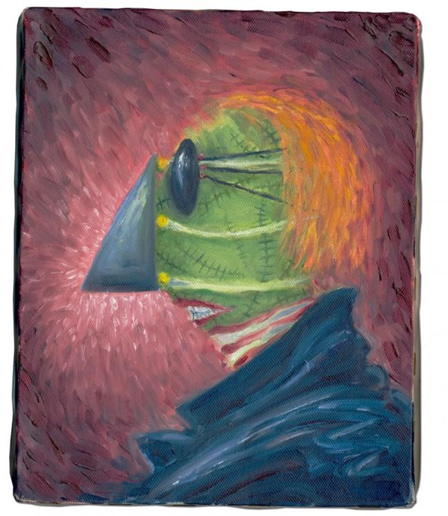 The Green Man, 1996-1998 | Öl und Acryl auf Leinwand | 25.4 x 20.3 cm | Private Sammlung