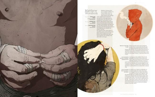 Matthew Woodson lässt sich bei seinen Illustrationen von alten Filmen, Vorkriegsblues- und Folkmusik inspirieren