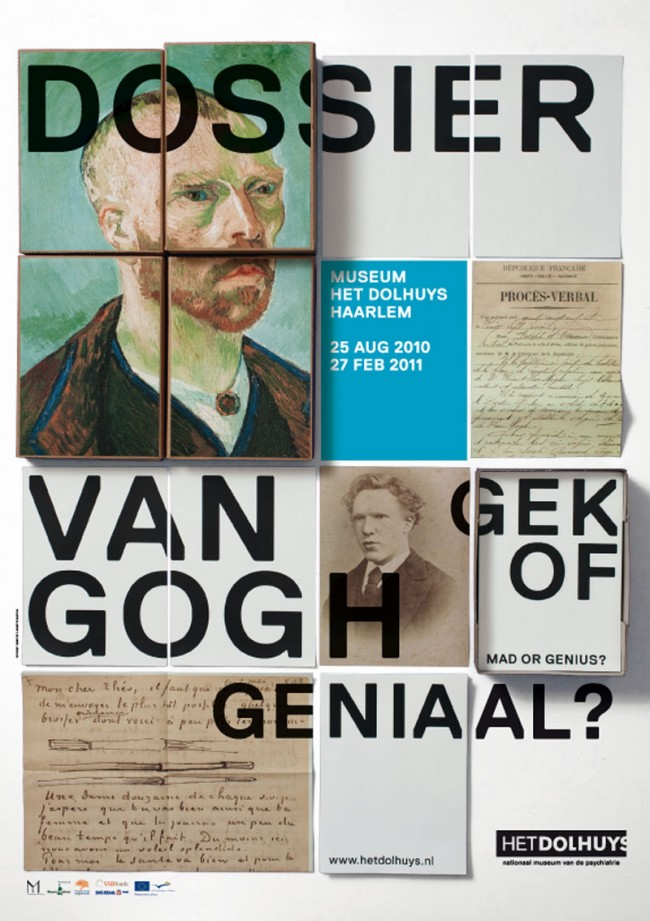 Poster für eine Ausstellung über Vincent van Gogh, die sich damit beschäftigt, ob er ein Verrückter oder ein Genie war. Museum Het Dolhuys, Museum für Psychiatrie, Haarlem
