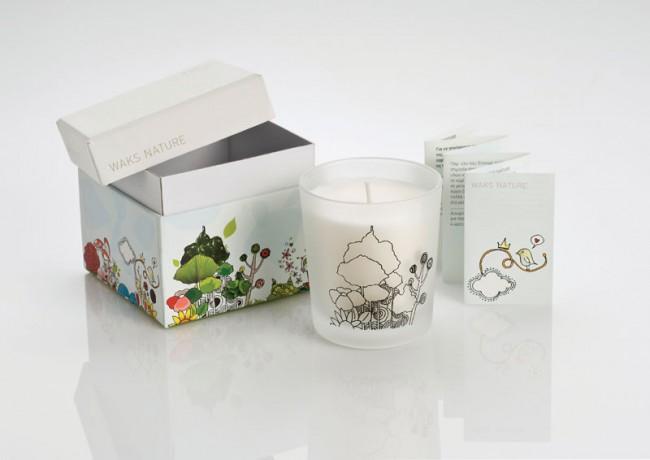 Erscheinungsbild und Verpackungsdesign für WAKS NATURE Scented candles, 2008 | ausgezeichnet mit dem  Bronze Award / European Design Awards 2009