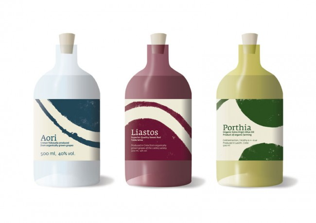 Erscheinungsbild und Verpackungsdesign für Olivenöl und Wein aus Kreta, 2009